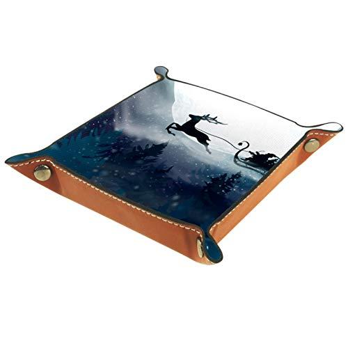 MUMIMI - Caja de almacenamiento para joyas, anillo y pendientes, caja de joyería de Papá Noel volando en un trineo con un ciervo