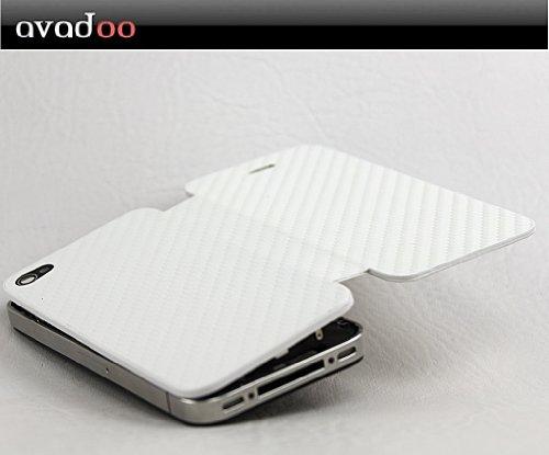 Avadoo® iPhone 4S weiß carbon Backcover Batteriedeckel - Carbon Design Flip Back Cover Etui Tasche Case Schutzhülle inkl. Werkzeug