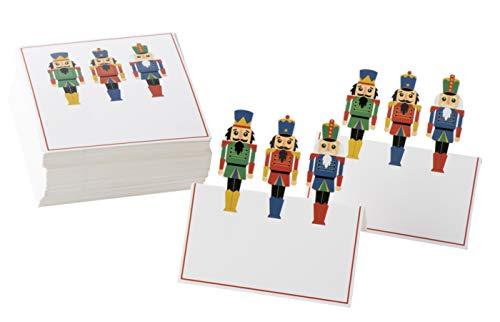Weihnachtstischkarten – 100 Stück Papierzelt Karten mit Nussknacker Soldat gestanzt Design Urlaub festliche bunte Tischdekoration und Partyzubehör, weiß, 5,1 x 8,9 cm