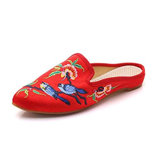 WXDP Pantuflas Calientes,para Mujer, de Interior para Mujer Old Beijing Cloth Slipper Hecho a Mano Fino Estilo étnico Zapatos Bordados Sandalias de Fondo Suave y Transpirable, para Mujer