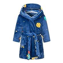 Taigood niños niñas Dibujos Animados con Capucha Albornoz niño Traje Pijamas Ropa de Dormir Luna Espacio