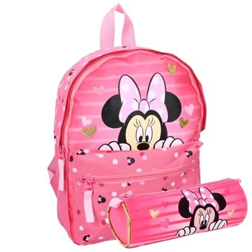 Zaino per bambini Minnie Mouse – asilo – Garderie – 31 x 23 x 9 cm – bambina + astuccio