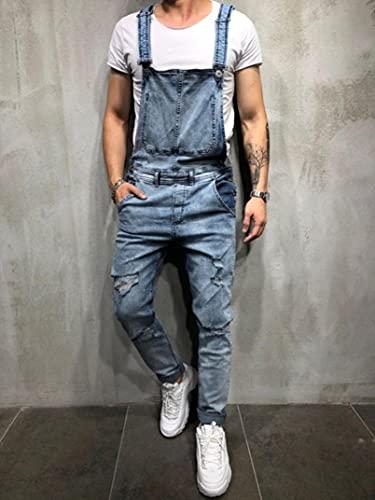 WoJogom Fashionable Men Torn Jeans Jumpsuit Street Distressed Denim Bib Overalls for Men Streetwear Blue