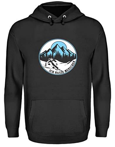 EBENBLATT Ich Hasse Menschen Skier Ski Geschenk - Unisex Kapuzenpullover Hoodie -L-Jet Schwarz