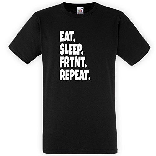 FRTNT Eat, Sleep, Repeat Unisex Shirt T-Shirt für Zocker, Gamer, Damen und Herren, Jungen und Mädchen, Jugendliche und Kinder + S/M/L, Schwarz, S