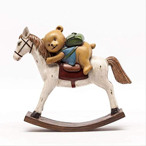 WGLG Soprammobili Moderni da Interno Cavallo A Dondolo in Corda di Canapa in Resina con Accessori Fatti A Mano, Decorazione per La Casa, Regalo, Ornamento per Cavalli