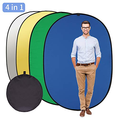 Photography Backdrop,GIJUANRING 4 in 1 Chromakey Green Screen Chromakey Blue Screen Portable Collapsible Reversible Photo Studio Background Reflector Panel 5x6.5ft 100% Cotton, Muslin