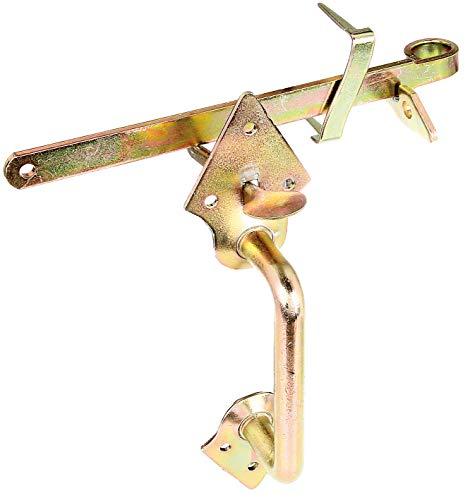 GAH-Alberts 310332 Klinken-Set | für Flechtzaun- und leichte Holztore | zum Anschrauben oder Einschlagen | galvanisch gelb verzinkt | Länge 260 mm