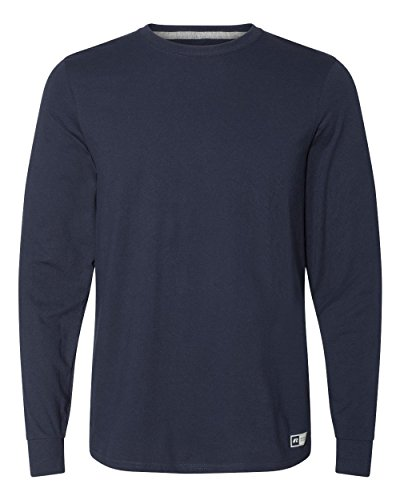 Russell Athletic Men's Cotton Performance Long Sleeve T-Shirts, Navy, Large