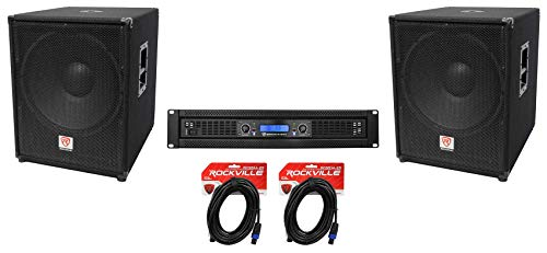 Great Features Of 2 Rockville PBG18 18 2000w 8 Ohm Pro Audio Subwoofers+2-Channel Power Amplifier