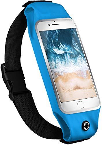 moex Handy Laufgürtel kompatibel mit Sony Xperia XA1 Plus | Handytasche Sport Gürtel Joggen Lauftasche frei verstellbar mit Sichtfenster - Fitness Laufen, Türkis