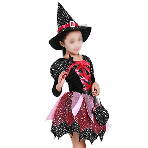 PRETYZOOM - Disfraz de bruja para Halloween (130 cm)