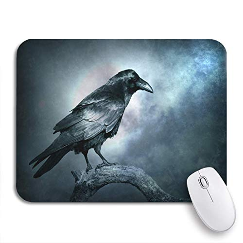 """MOBEITI Gaming Mouse Pad Black Raven in Moonlight Perched on Tree Scary Creepy 9.5""""x7.9"""" Nonslip Rubber Backing Computer Mousepad for Notebooks Mouse Mats"""