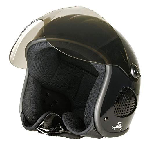 Bores SRM Slight 1 Casque Jet, designed by Gen sler, visière transparente, ce en1077 Sport de contrôle, noir vernis Taille S 51–52 cm