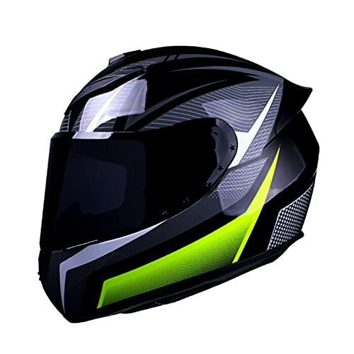 KKmoon Casco per Moto, Casco Integrale per Donne Uomini Adulti, 57-58 cm, Attrezzatura per Motociclisti Quattro Stagioni Universale, Verde e Nero, M