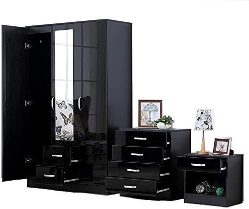3 Schlafzimmermöbel Sets - einschließlich Garderobe, vier Schubladen, Nachttisch,Black