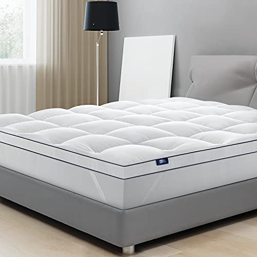 BedStory Extra Thick Mattress Topper King, Cooling Mattress Pad 1200 GSM Overfilled Never Goes Flat, Lumbar Strain Relieving, Back Pain Relief Improve Sleep Quality