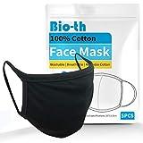 Bio-th Cloth Face Masks Washable - 5 Pack Black Face Masks Reusable Breathable Premium Comfort Ear loop Cotton Men Women L/XL