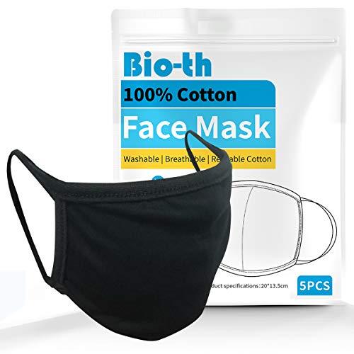 Bio-th Cloth Face Masks Washable - 5 Pack Black Face Masks Reusable Breathable Premium Comfort Ear...