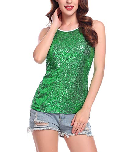 Zeagoo Women's Sparkly Sequin Cami Shimmer Tank Top