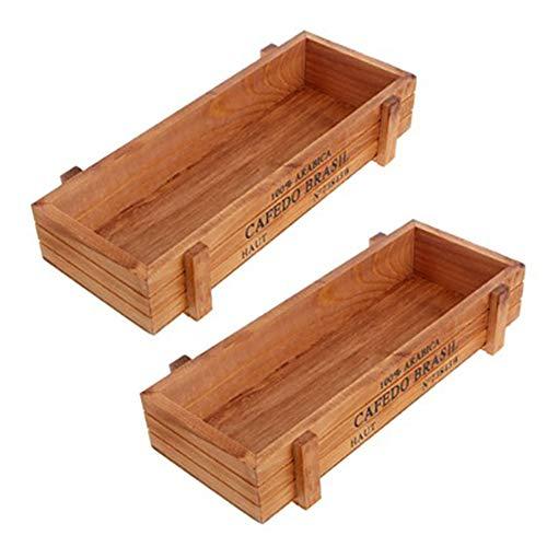 Iamagie 2 piezas pequeñas suculentas maceta decorativa rústica de madera rectangular maceta de jardín maceta vintage para plantas de interior al aire libre vegetales hierbas flores (madera)