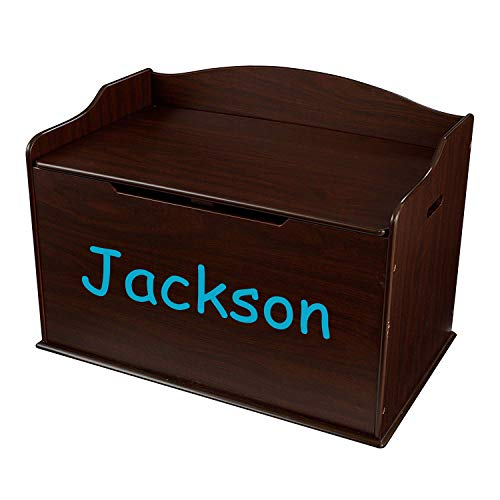 KidKraft Personalized Austin Toy Box - Espresso Wooden Storage Bench with Lid for Kid and Toddler Room - Playroom Organizer for Girls and Boys