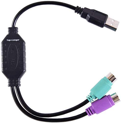 Top-Longer PS2 Converte Cable Adaptador Conversor USB Doble a PS2 to PS/2...
