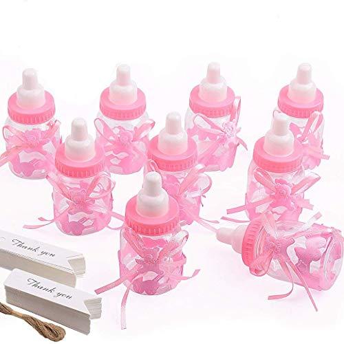 Gudotra (125 Packs 24pcs Biberon à Dragées Bouteilles Biberon de Bonbons (Rose) +100pcs Cartes Blanches + 10 Mètres Corde de Jute Bonbonnières Baptême