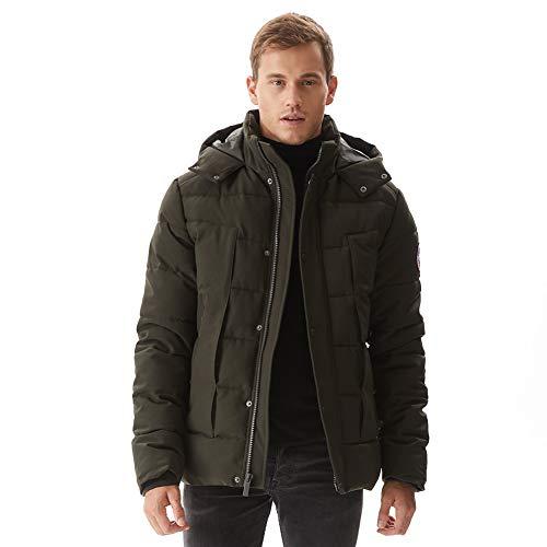 DKNY Men's Water Resistant Ultra Loft Hooded Logo Puffer Jacket, Reflective, Large