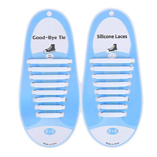 SZXCX Correa de Encaje de Silicona de Color Creativo Cordón de Zapato Perezoso sin Lavado Cordón de Zapato Informal elástico Cordón de Silicona - Blanco