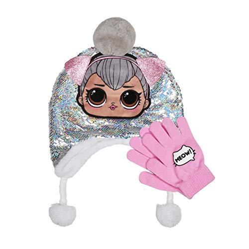 L.O.L Surprise - Sombrero reversible con lentejuelas mágicas plateadas y pompón y guante, set de 2 piezas de accesorios de invierno para niñas, color rosa