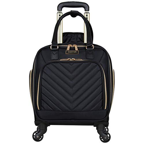 Kenneth Cole Reaction Women's Chelsea Collection 17' Chevron Quilted Softside 4-Wheel Spinner Underseater Carry-On Suitcase, Black