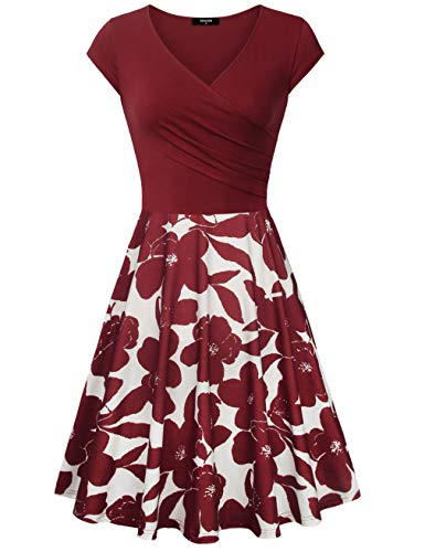 Lotusmile Homecoming Dresses, Womens Casual Dress Patchwork A Line Cap Sleeve V Neck Floral,Multcolor Red Large