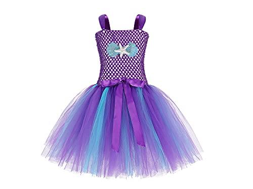 Jurebecia Mermaid Tutu Dress for Girls Princess Mermaid Costume Dress up Halloween Outfit Kids Mermaid Shell Starfish Shiny Sleeveless Dresses Birthday Christmas Role Play Theme Party Deep Purple 2-3T