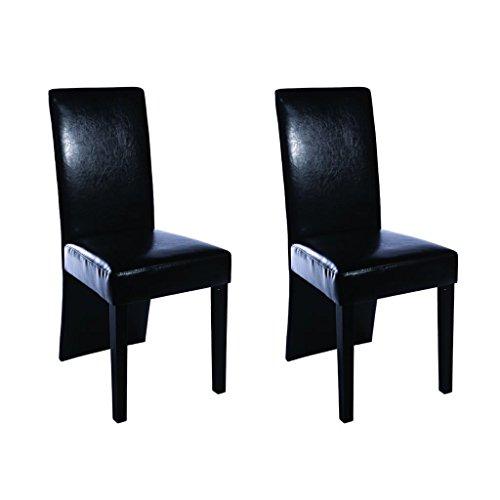 vidaXL Chaise Design Bois Noir (Lot de 2)