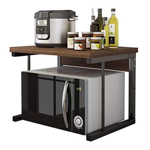 Opbergrek voor kantoorbenodigdheden met 2 niveaus, voor printers, van hout, met robuust metalen frame, houder voor machines, kantoor-organizer voor faxapparaten, scanners 54 x 40 x 37 cm, afgewerkt