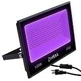 ZHMA 100W Black Light,IP66 Waterproof ,for Indoor and Outdoor Blacklight Party,Stage Lighting,Aquarium,Neon Glow,Fluorescent Effect, Glow in The Dark Curing.