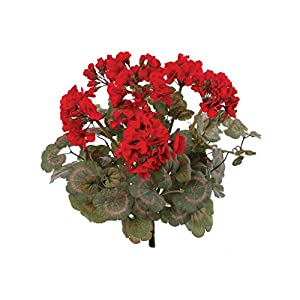Red Artificial Geranium Flower Bush | UV Resistant Decorative Silk Artificial Plant Perfect for Outdoors or Indoor Décor, 18-Inch Tall