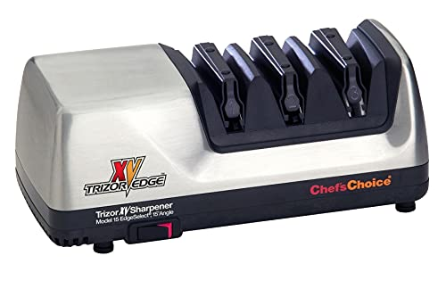 Chef'sChoice Trizor XV EdgeSelect Professional Electric Knife Sharpener With 100-Percent Diamond Abrasives And Precision Angle Guides For Straight Edge and Serrated Knives, 3-stage, Gray