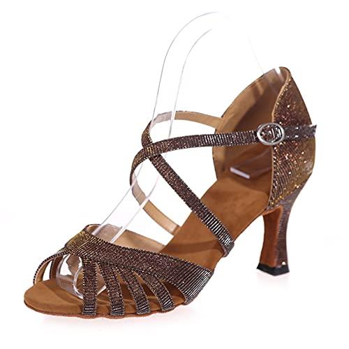 Love Shoes Baile Latino Zapatos Salón De Baile Zapatos De Tacón Fiesta Sandalias De Tira De Hebilla De Metal Zapatos De Baile Salsa para Mujer,Marrón,42EU/8UK