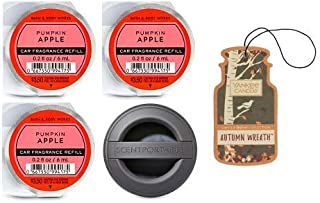 Bath and Body Works Black Soft Touch Visor Clip Car Fragrance Holder and 3 Scentportable Pumpkin Apple. Paperboard Car Fragrance Autumn Wreath.