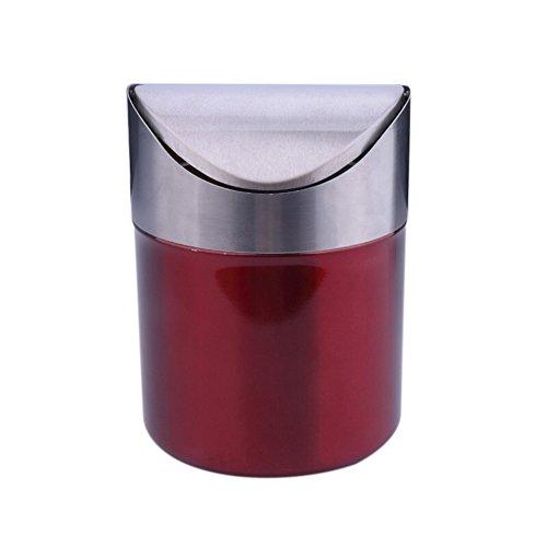 Finoki edelstahl mini Tischmülleimer Abfallbehälter müll Aufbewahrung Eimer Trash Swingdeckel (Rot)