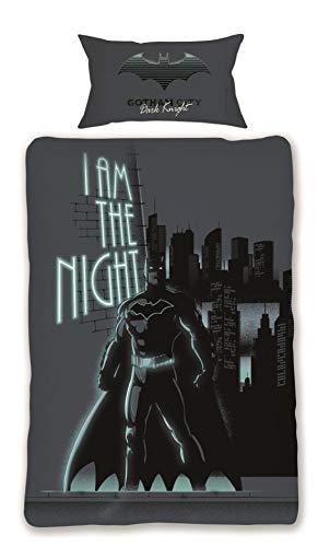 Official DC Batman Dark Knight Single Duvet Cover Set Reversible 100% Soft...
