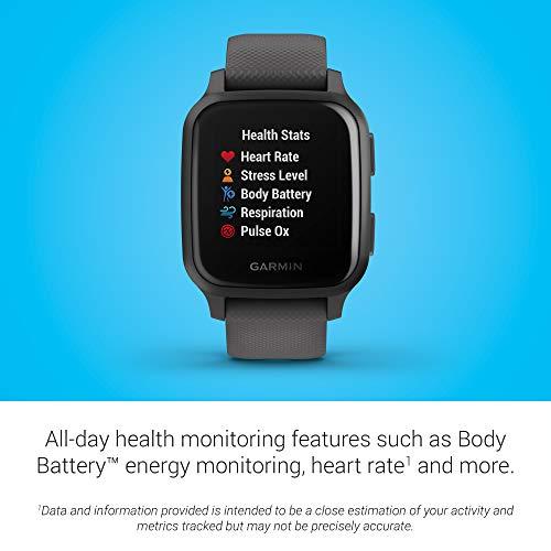 Garmin Venu Sq - Montre Connectée santé bien-être -GPS intégré, Multisports , Cardio Poignet, Garmin Pay, Autonomie Longue Durée – Slate/Slate- Cadran 40 mm