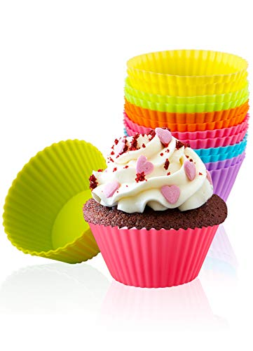Silicone Cupcake Baking Cups, Reusable Muffin Cup Liners, 2.75 OZ Cup Cake Molds Set Non Stick Cupcake Wrappers Cupcake Holder Cupcake Liners 12 Pack 6 Rainbow Colors