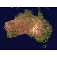 Map Australia Satellite Topography Map Art Print Poster Wall Decor 12X16 Inch 地図オーストラリア地図ポスター壁デコ
