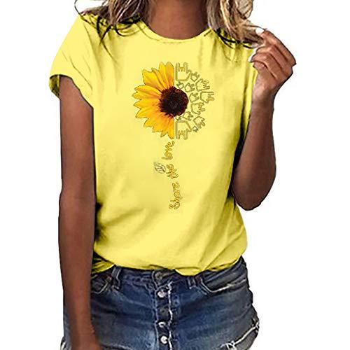 MRULIC 2019 Neue T-Shirt Damen Tee Rundhals Kurzarm Mädchen T-Shirt Lose Tops Sommertop Kurzarmshirt Tochter Zum Vatertag S-3XL(C-Gelb,EU-38/CN-M)