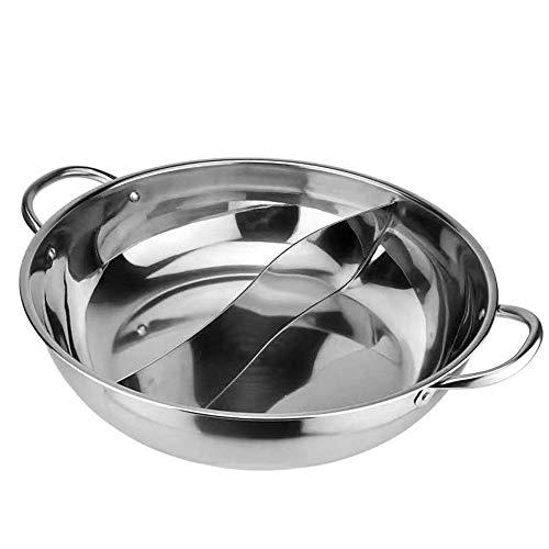 Shabu Shabu Hot Pot-Dikke Niet-Magnetische RVS Crucible Hot Pot Hot Met S Divider Clear Soeppot Met Cover Voor Elektrische Inductie Kookplaat Gas Fornuis