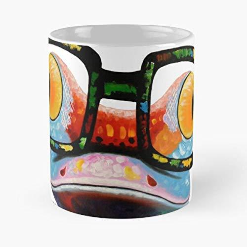 Geek Chic - Taza de café de cerámica con diseño de rana divertida y fresca de árbol hipster Nerd come Food Bite John Best de 315 ml