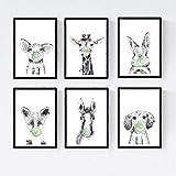 Nacnic Set 6 Posters Animales Bebes con Chicle. Cerdo Girafa Conejo Zorro Caballo Perro.Tamaño A4